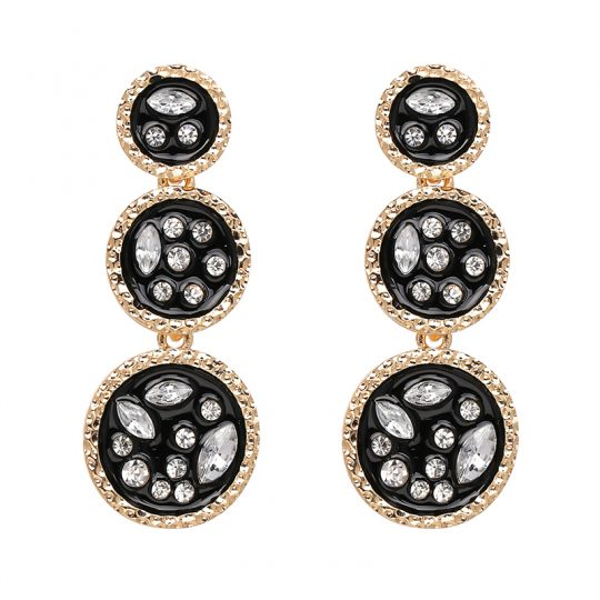 Circle Stone Statement Earrings Black
