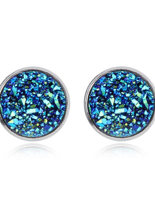 Geode Medium Silver Stud Earrings Blue