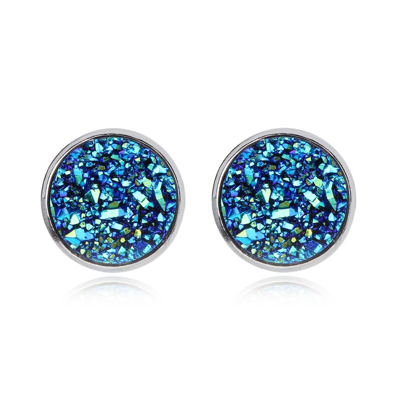 Geode Medium Silver Stud Earrings Blue