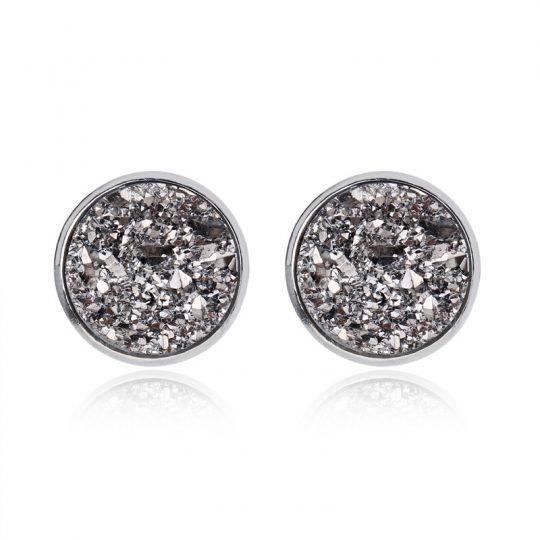 Geode-Medium-Silver-Stud-Earrings-Metallic