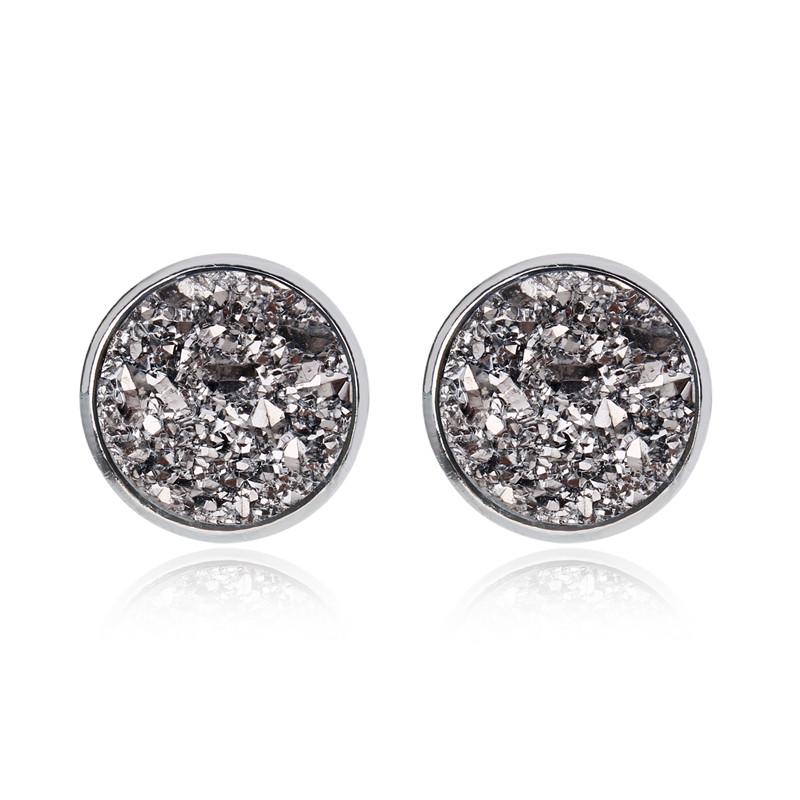 Geode Medium Silver Stud Earrings Metallic