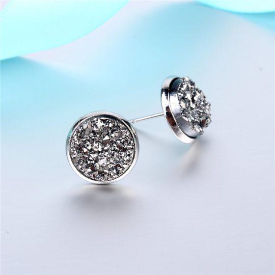 Geode-Medium-Silver-Stud-Earrings-Metallic1