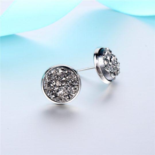 Geode-Medium-Silver-Stud-Earrings-Metallic2
