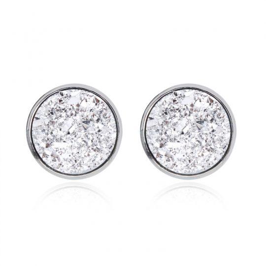 Geode-Medium-Silver-Stud-Earrings-Silver