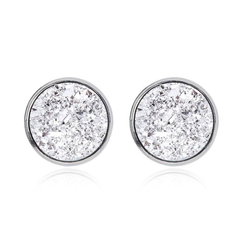 Geode Medium Silver Stud Earrings Silver