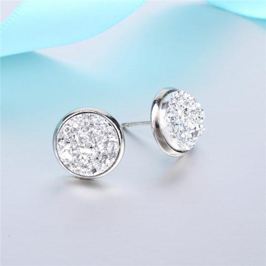 Geode-Medium-Silver-Stud-Earrings-Silver1