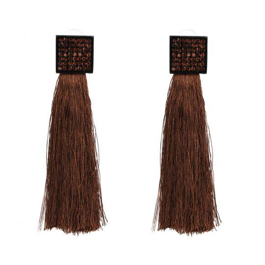 Pave-Square-Tassel-Earrings-Brown