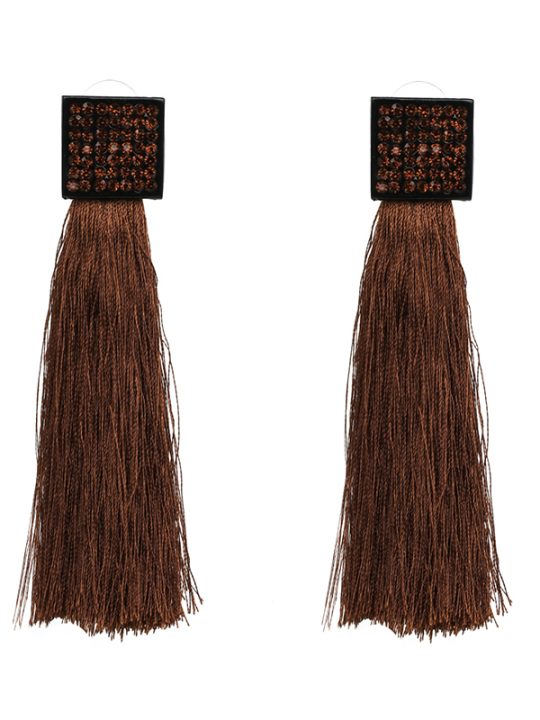 Pave Square Tassel Earrings Brown