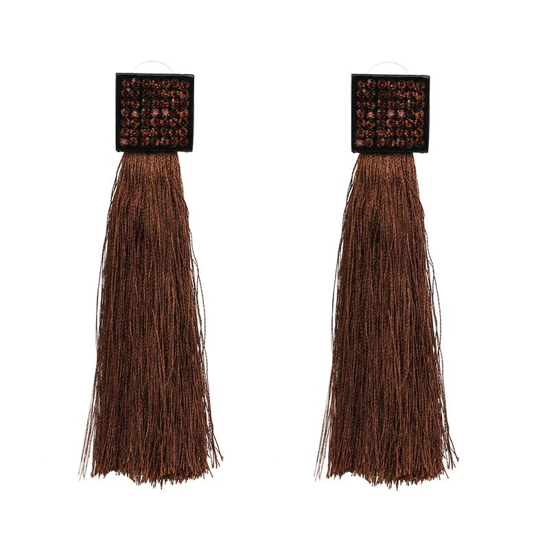 Pave Square Tassel Earrings Brown