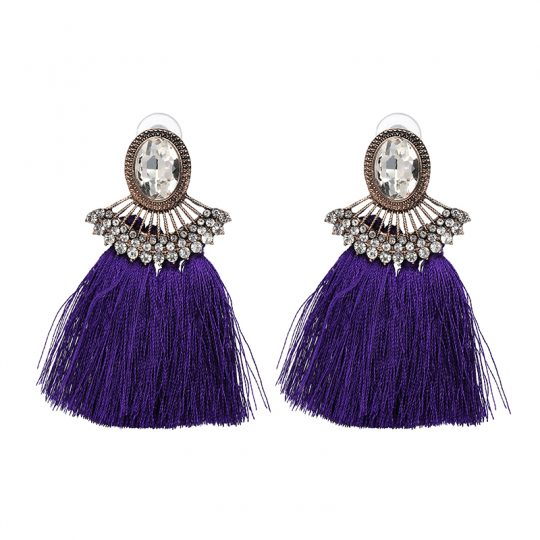 Purple-Tassel-Crystal-Statement-Earrings