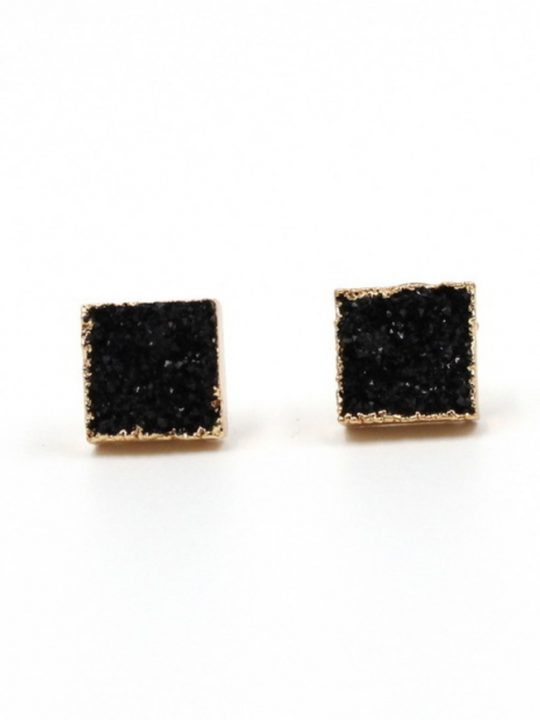 Square Druzy Stone Stud Earrings Black