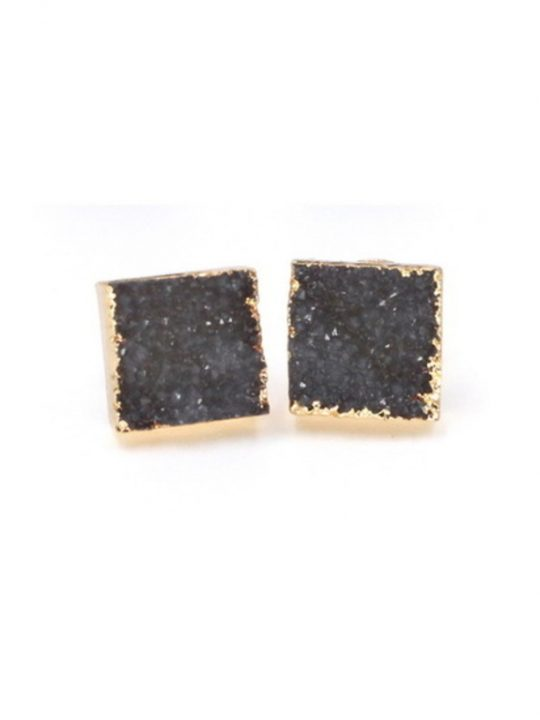 Square Druzy Stone Stud Earrings Grey