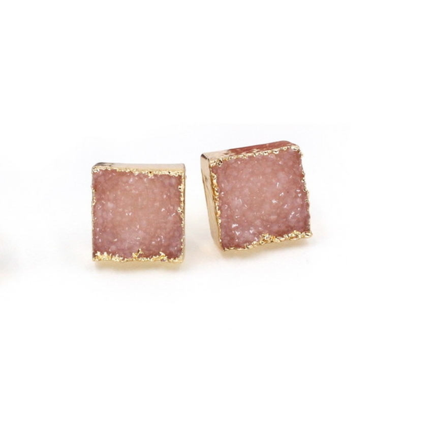 Square Druzy Stone Stud Earrings Pink