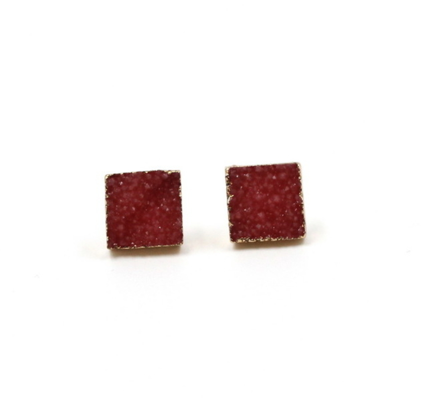 Square Druzy Stone Stud Earrings Red