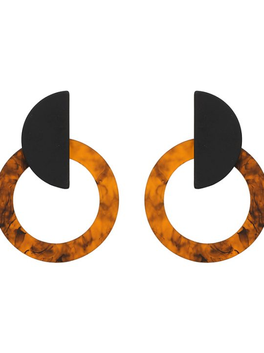 Tortoise Circle Statement Earrings Brown